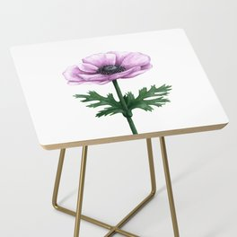 Pink Anemone Flower Painting Side Table