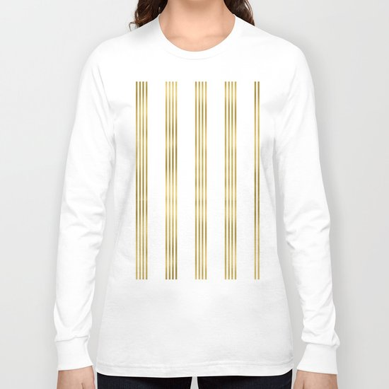 Gold small stripes on clear white - vertical pattern Long Sleeve T-shirt