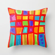 Colorful Grid Throw Pillow
