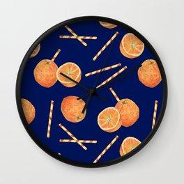 orange juice _ blue Wall Clock