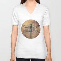 dragonfly V-neck T-shirts featuring Dragonfly  by Werk of Art