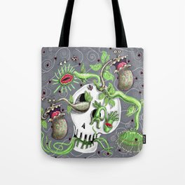 skull pot with carnivorous plants Tote Bag