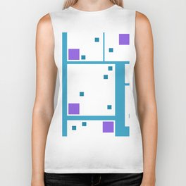 Violet Rectangle with turquoise Lines Biker Tank