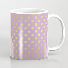 Lavender and Gold Polka Dots Pattern Coffee Mug