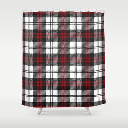 Cozy Plaid in Black and Red Shower Curtain
