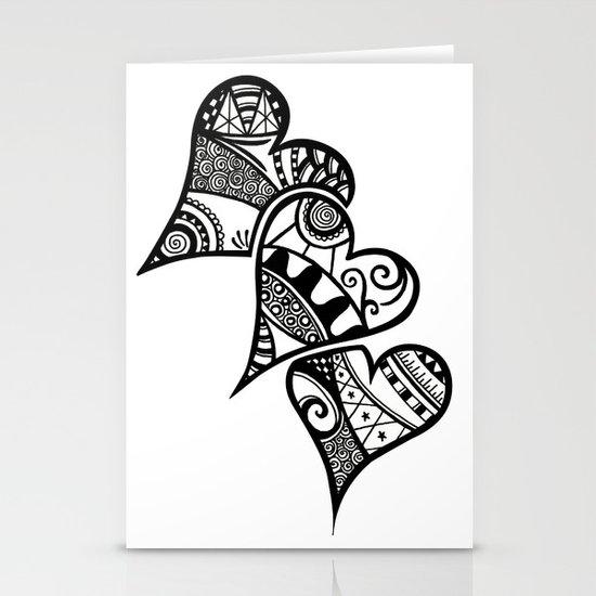 Three Hearts Stationery Cards