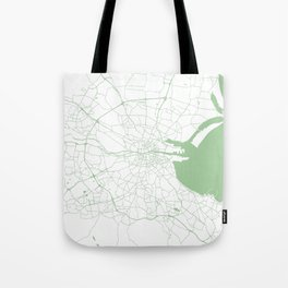 White on Green Dublin Street Map Tote Bag