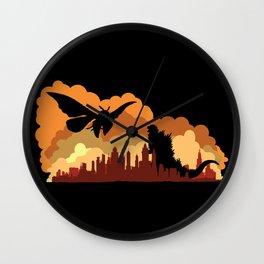 Godzilla versus Mothra cityscape Wall Clock