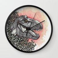 dinosaur Wall Clocks featuring Dinosaur by Gemma Goode