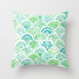 LIME MERMAID DAYDREAM Watercolor Scales Throw Pillow