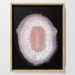 Druze agate, quartz, crystal stone pink beige black Serving Tray