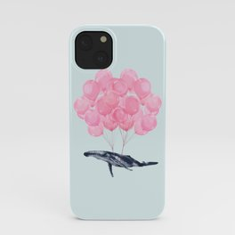 Flying Whale with Pink balloons #1 iPhone Case