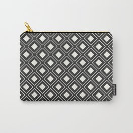 White Diamond Geometric Patterns Carry-All Pouch