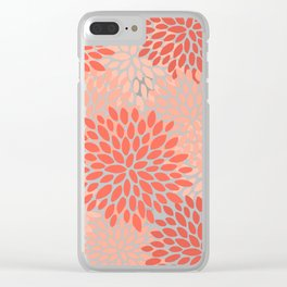 Floral Pattern, Living Coral, Pink Clear iPhone Case