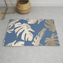 Simply Tropical Palm Leaves White Gold Sands on Aegean Blue Rug