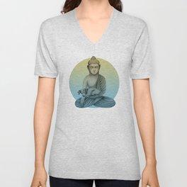Buddha with dog3 Unisex V-Neck