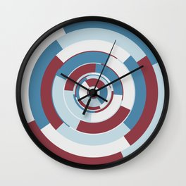 Spinning colourful rings on red and grey chessboard Wall Clock