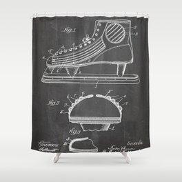 Ice Hockey Skates Patent - Ice Skates Art - Black Chalkboard Shower Curtain
