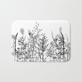 Wild flowers. Black and white Bath Mat