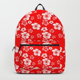 Red And White Turtles Hawaiian Pattern Backpack