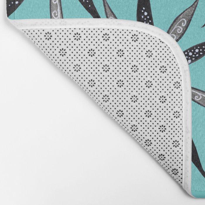 Elegant Thin Flowers With Dots And Swirls Bath Mat
