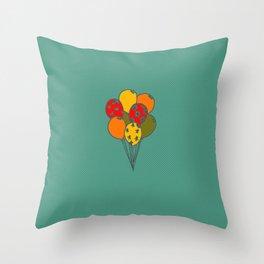 Color Balloon green background Throw Pillow