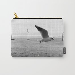 black and white flying birds on the sea Carry-All Pouch
