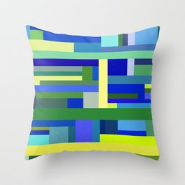 Abstract Blue Lime Pattern Throw Pillow