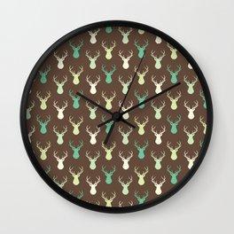 Brown ivory pastel green vector deer animal pattern Wall Clock