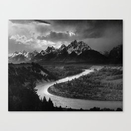 The Tetons and the Snake River | Wyoming | Ansel Adams Canvas Print
