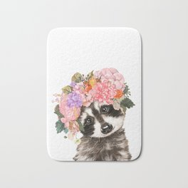 Baby Raccoon with Flowers Crown Bath Mat