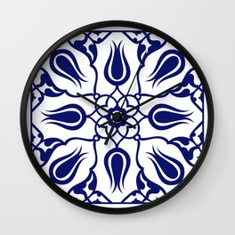 Blue Turkish Traditional Floral Tile Art Wall Clock