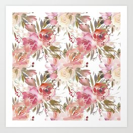 Pastel Pink and Cream Blossom on White Art Print