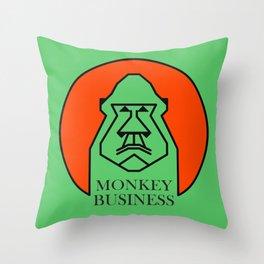 Monkey Business Green Throw Pillow