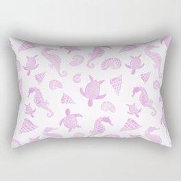 Sea Creatures | Light Pink Ocean Animal Pattern Rectangular Pillow