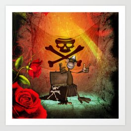 Funny pirate monkey with flag Art Print