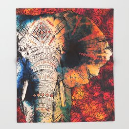 Indian Sketched Elephant Red Orange Throw Blanket
