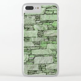 Green terrazzo wall with shale stones Clear iPhone Case