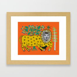Lion is playing with dog Framed Art Print