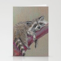 racoon Stationery Cards featuring Racoon sleeping by Pendientera