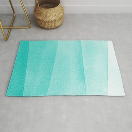 Mint Green Watercolor Ombré Dip Dyed Rug