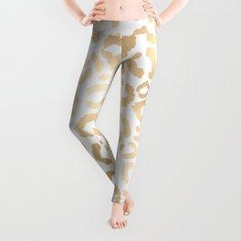 Elegant Gold White Leopard Cheetah Animal Print Leggings