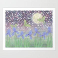 luna moths around the moon with starlit irises Art Print