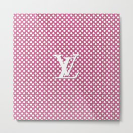 LV Polka Pattern Pink Metal Print