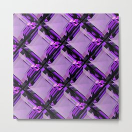 SQUARE CUT PURPLE FEBRUARY AMETHYST GEMS DIAGONAL PATTERN Metal Print