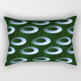 Geometric Architectural Pattern in Silver & Gray-Green Rectangular Pillow