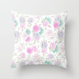 Pastel pink turquoise watercolor hand painted cactus floral Throw Pillow