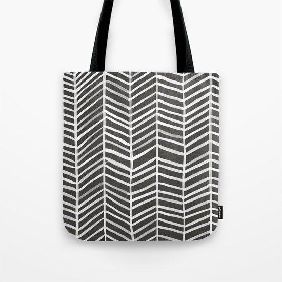 Herringbone – Black & White Tote Bag