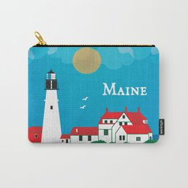 Maine - Skyline Illustration by Loose Petals Carry-All Pouch