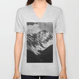 Black and White Canadian Rockies Unisex V-Neck